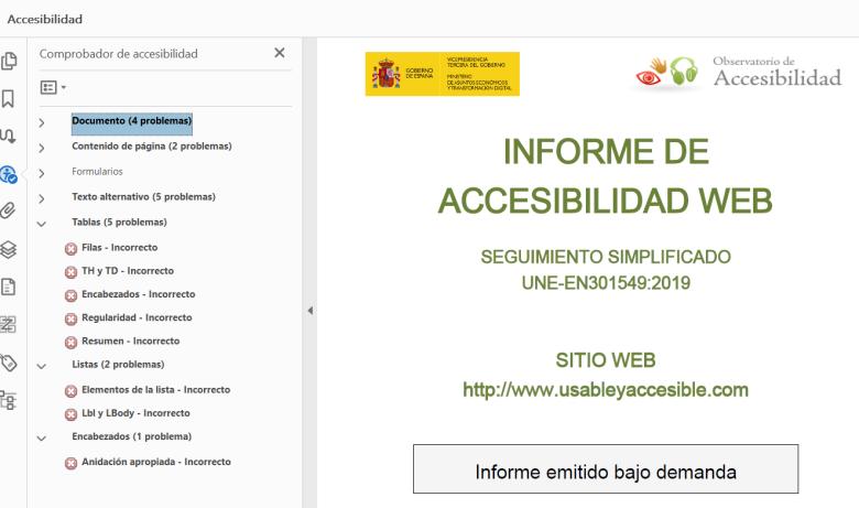 Informe PDF del Rastreador OAW. El validador de accesibilidad de Adobe reporta gran cantidad de errores en diversos criterios.