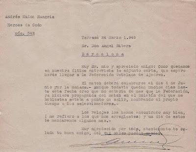 Carta de Andreu Muñoz en 1949