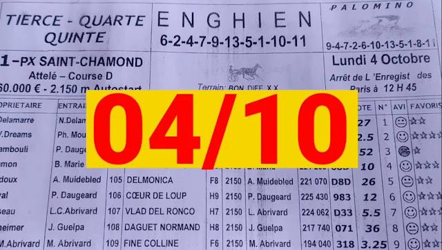 programme quinté+ Pronostic quinté Lundi 04/10/2021