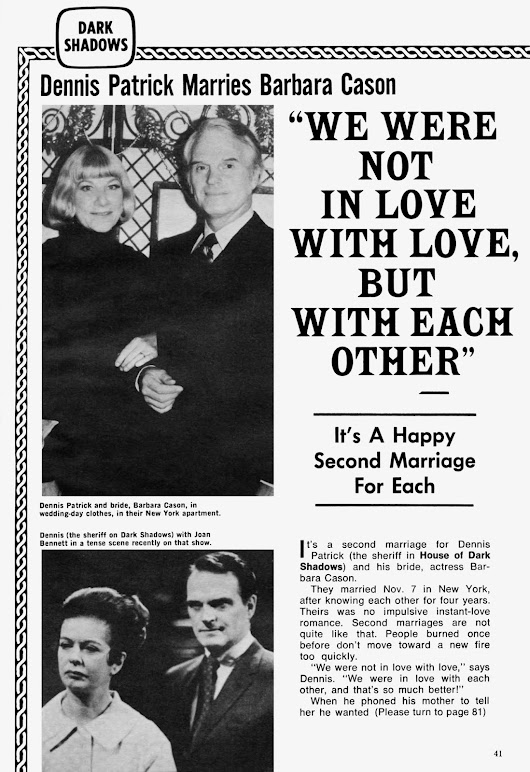 Dark Shadows: Dennis Patrick Marries Barbara Cason