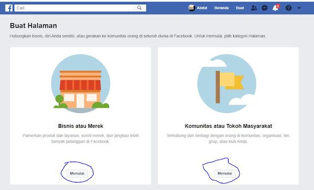 Cara buat Halaman facebook