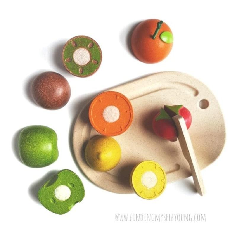 plan toys wooden fruit cutting set