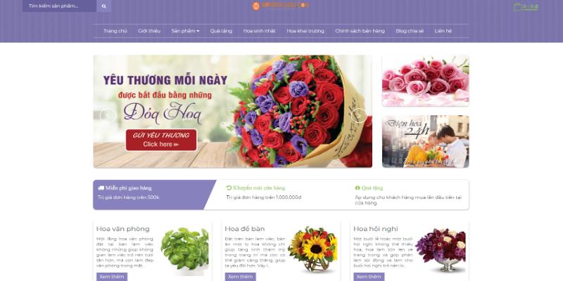 Mẫu website wedding bán hoa online