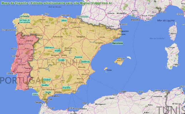 Mapa Espanha | Principais Cidades Turisticas