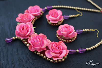 Coral Pink Paper rose jewelry