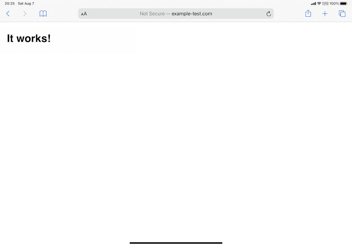 Safariにて、hostsファイルに記入したドメイン名へアクセスしたところ