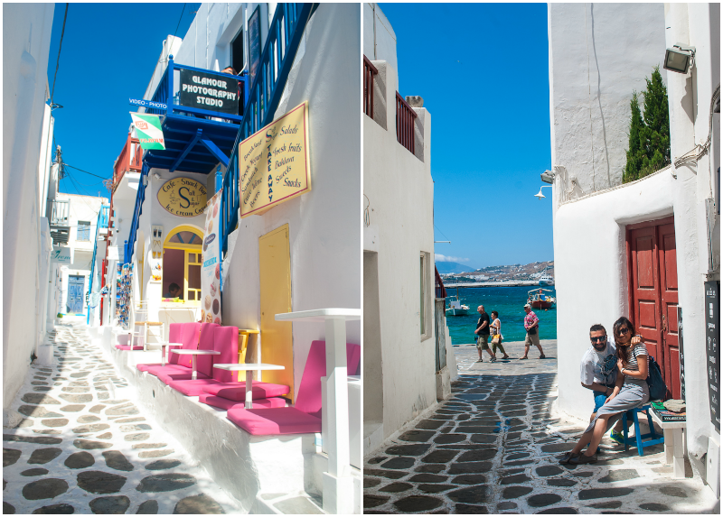 cobbled streets and white houses in mykonos, greece