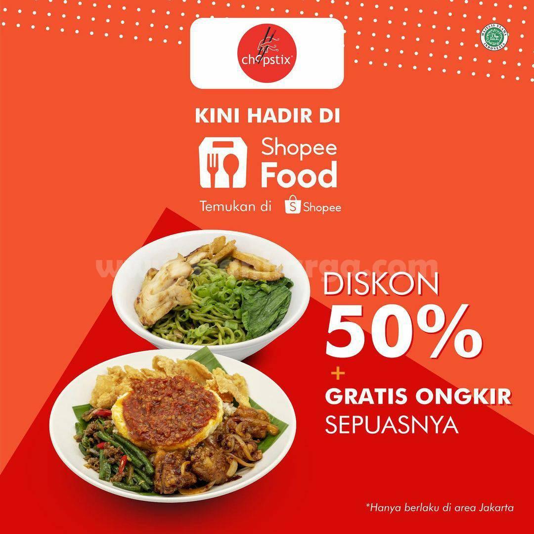 Chopstix is now available on Shopee Food! Promo DISKON 50% + GRATIS ONGKIR
