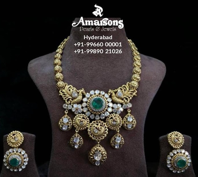 Peacock Choker with Earrings by Amarsons