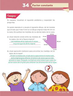 Respuestas Apoyo Primaria Desafíos Matemáticos 5to. Grado Bloque II Lección 34 Factor constante