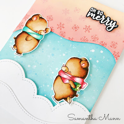 Oh So Merry Card by Samantha Mann, Get Cracking on Christmas Cards, Card Making, Handmade Cards, Distress Oxide Inks, Christmas, Christmas Card, Paperie Ink #paperieink #cardmaking #cards #christmascard #christmas #iceskating #distressoxide #getcrackingonchristmas