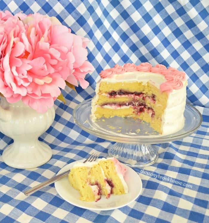 Lemon cream cheese buttercream with raspberry filling cake