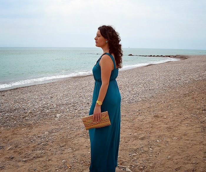 maxi vestido, vestido largo, C&A, turquesa, mar, playa