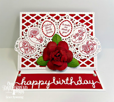 Our Daily Bread Designs Stamp Set: Lovely Flower, Custom Dies:  Fancy Fan, Roses, Rose Leaves, Lattice Background, Happy Birthday Script