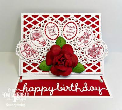 Our Daily Bread Designs Stamp Set: Lovely Flower, Custom Dies:  Fancy Fan, Roses, Rose Leaves, Lattice Background, Happy Birthday Script