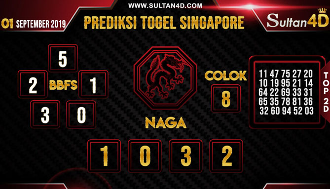 PREDIKSI TOGEL SINGAPORE SULTAN4D 01 SEPTEMBER 2019