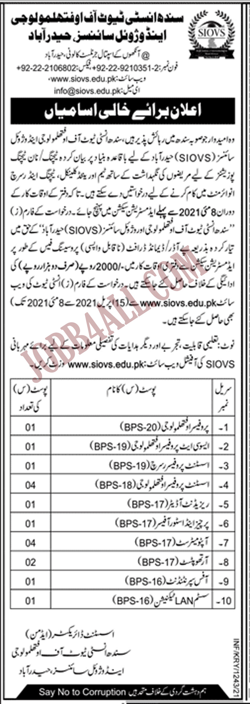 Sindh Institute of Ophthalmology and Visual Science Jobs 2021