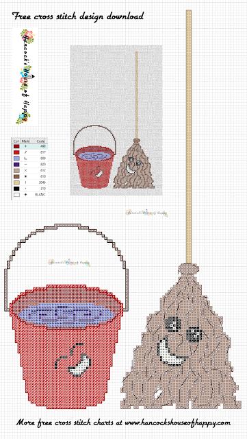 Free Kawaii House Work Mop and Bucket Cross Stitch Design