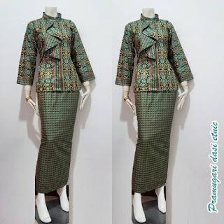 Model Baju Batik Pramugari Dasi Motif Etnik Lengan Panjang Warna Toska