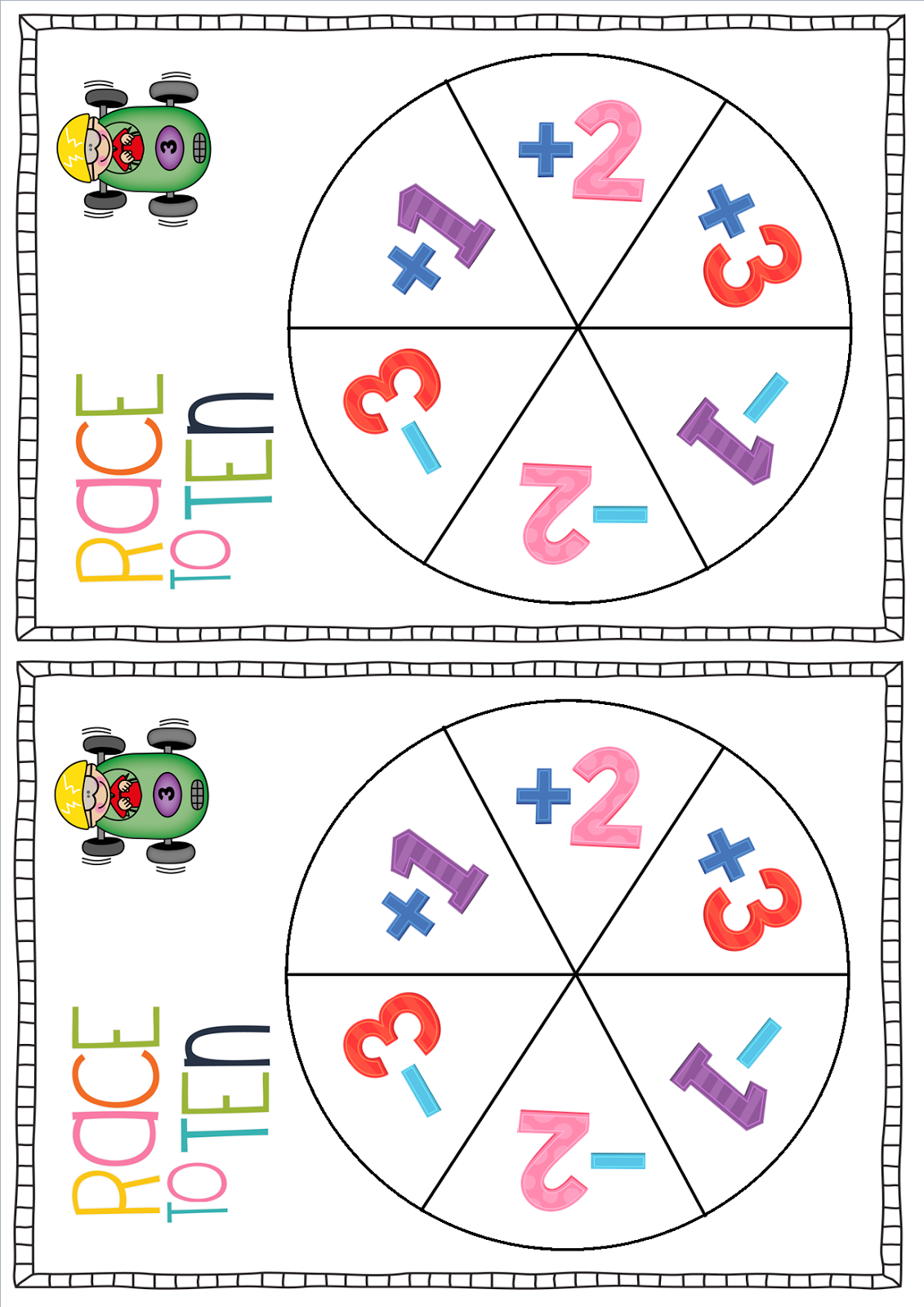 Early Years Fun Race To Ten A Classroom Freebie