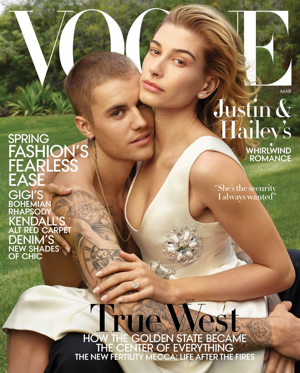 Justin and Hailey Bieber cover Vogue US March 2019