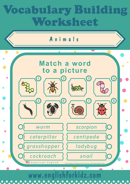 Insects worksheet - word to picture matching - free ESL worksheets