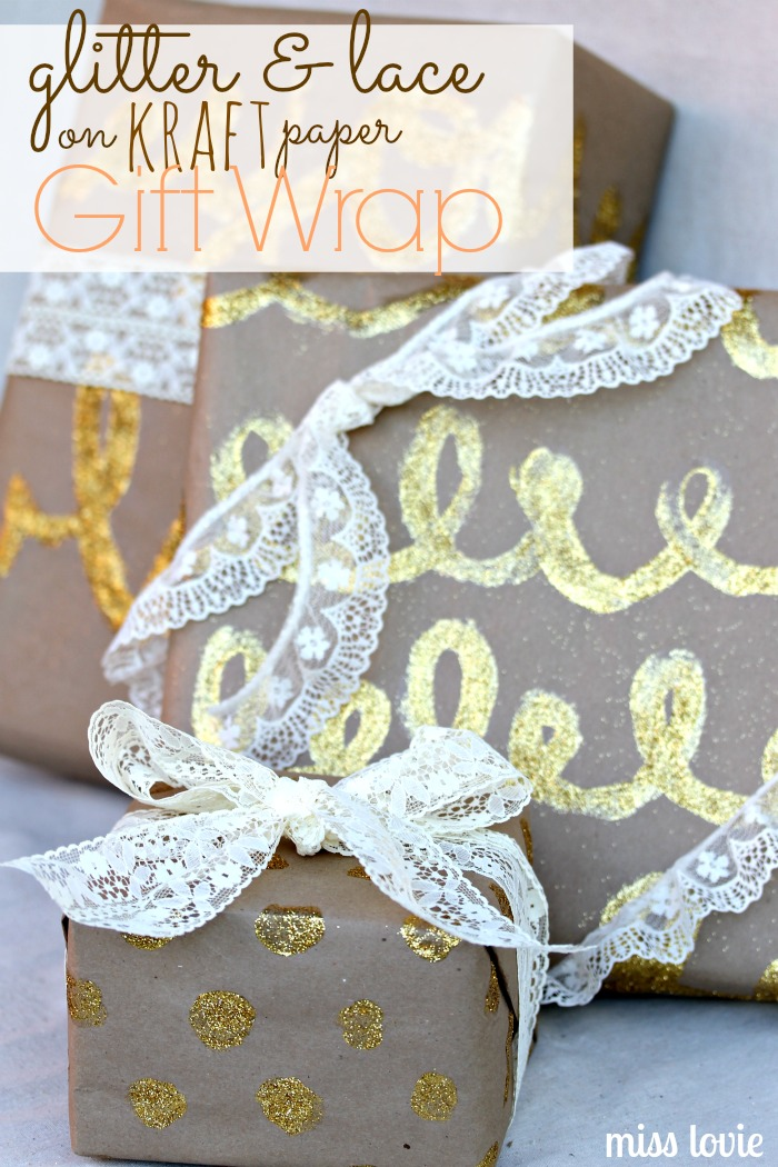 Miss Lovie: Glitter and Lace on Kraft Paper Gift Wrap
