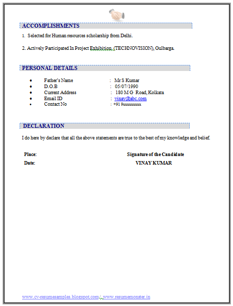 resume declaration format fresher resume with project details
