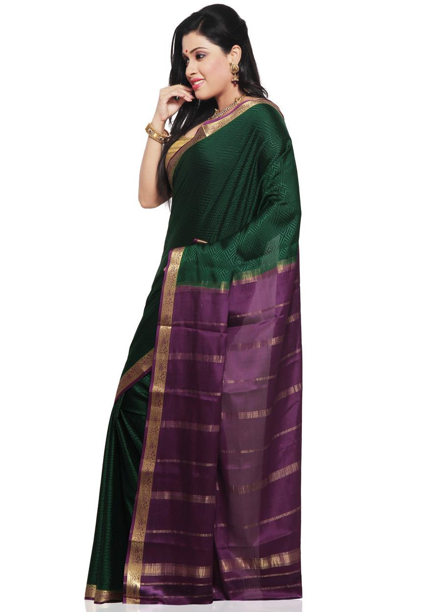 Saree Market Pure Mysore Silk Sarees Green Colour