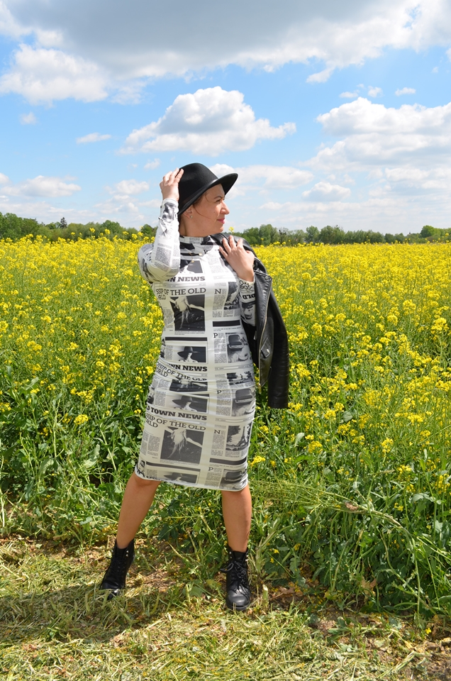 Newspaper Print Midi Dress