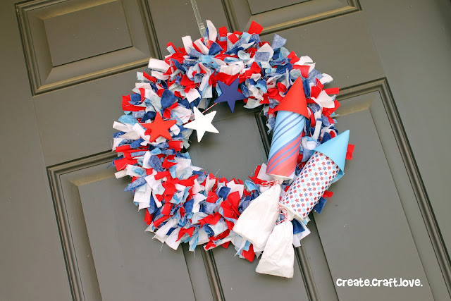 Firecracker Rag Wreath tutorial via createcraftlove.com #wreath #fourthofjuly