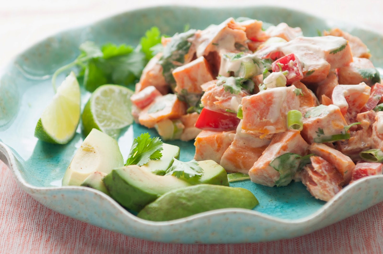 nourishing meals smoked salmon and yam salad with creamy chipotle lime dressing. Black Bedroom Furniture Sets. Home Design Ideas