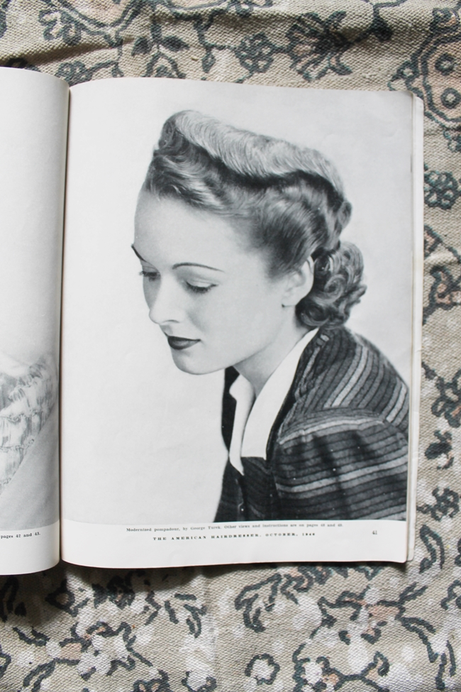 1940 pin curl set wave updo from American Hairdresser Magazine