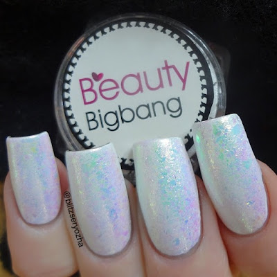 Beauty Bigbang, Iridescent Chameleon Flakes, J2443-9A, over white polish