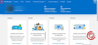 4. Jika sudah masuk ke akun Microsoft, silakan kalian pilih tombol menu di pojok kiri atas