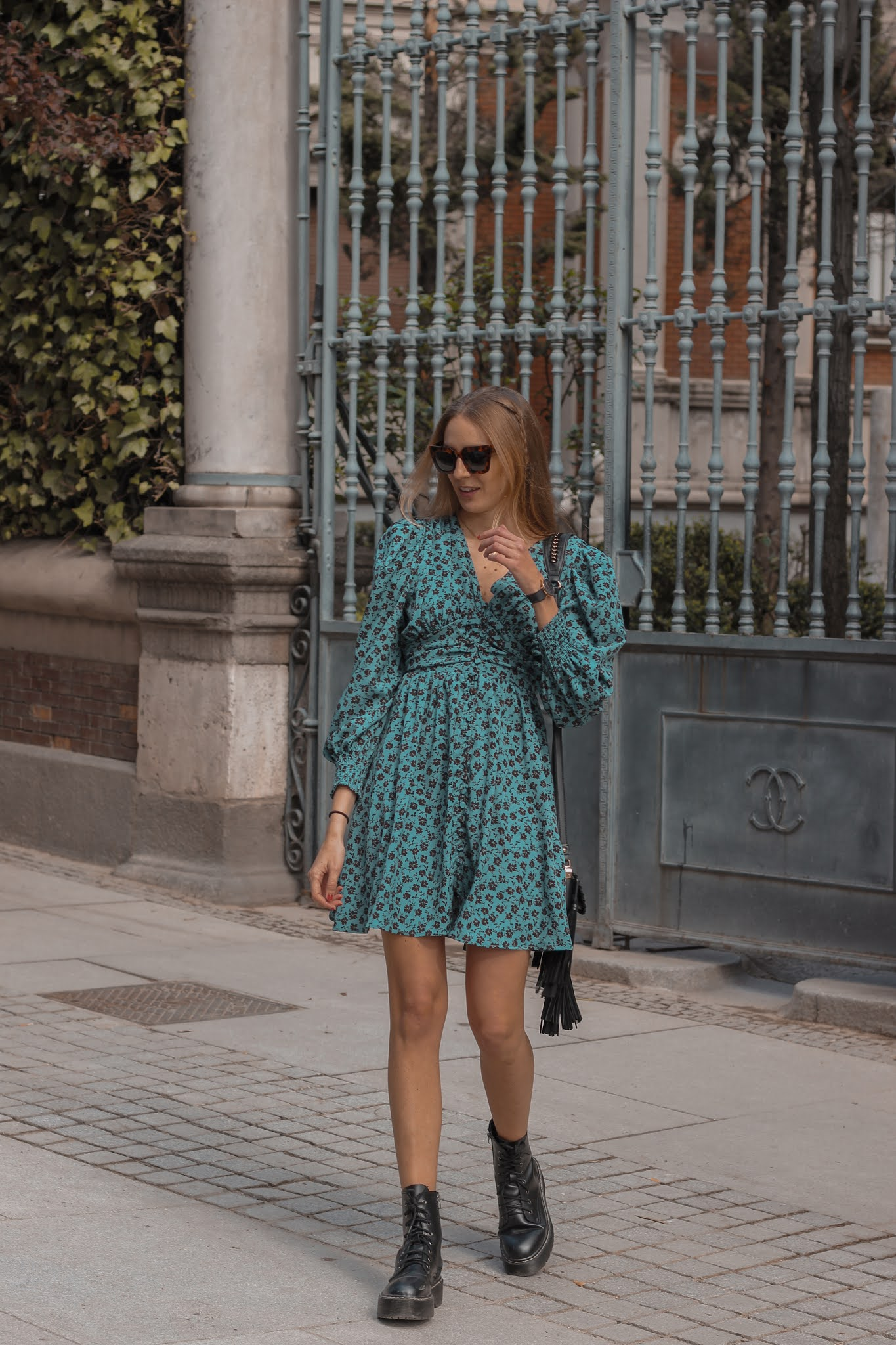 chicwish-floral--wrapped-dress-black-boots