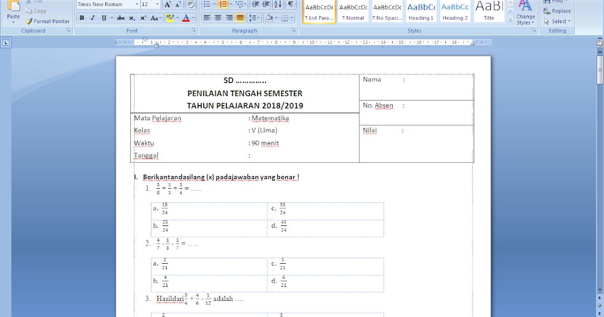 Soal uts matematika kelas 5 semester 1 kurikulum 2013 ...