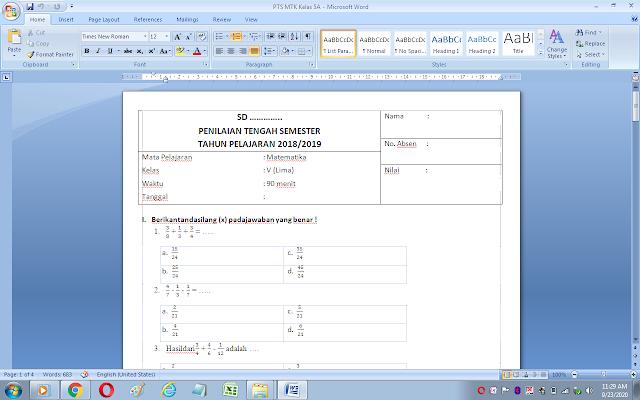 Download soal uts matematika kelas 5 semester 1 kurikulum 2013 dan kunci jawaban