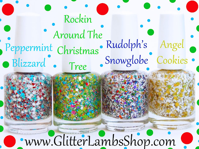 Peppermint Blizzard, Rockin Around The Christmas Tree, Rudolph's SnowGlobe, Angel Cookies Glitter Toppers Nail Polish