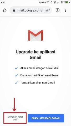 tombol untuk meralih ke tampilan web Gmail