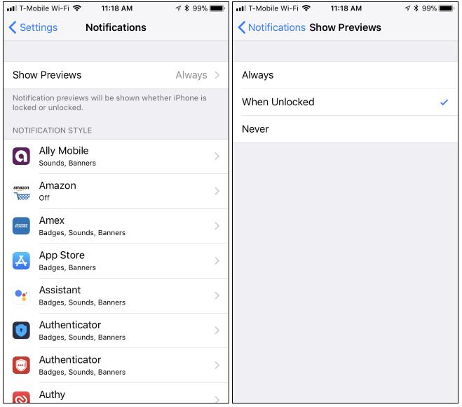 Come nascondere le anteprime di notifica per tutte le applicazioni  nell iPhone