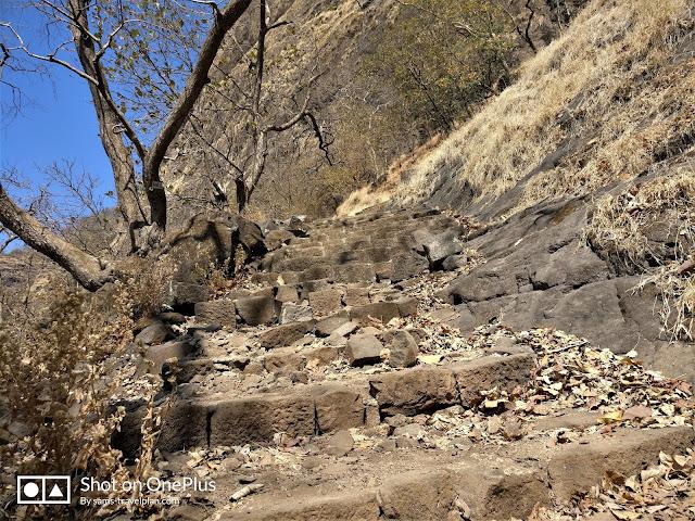 Sudhagad fort trek, rock cut steps at Sudhagad