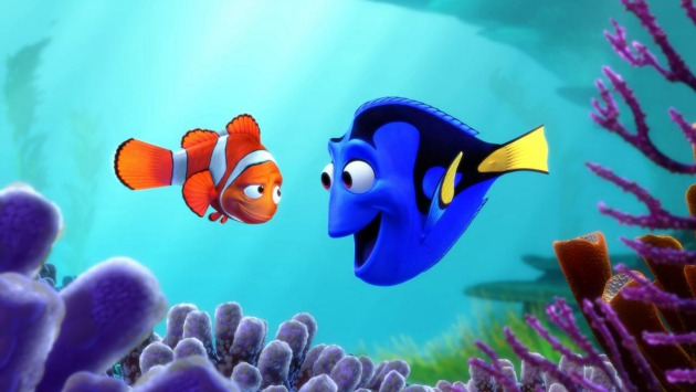 Marlin y Dory durante la película