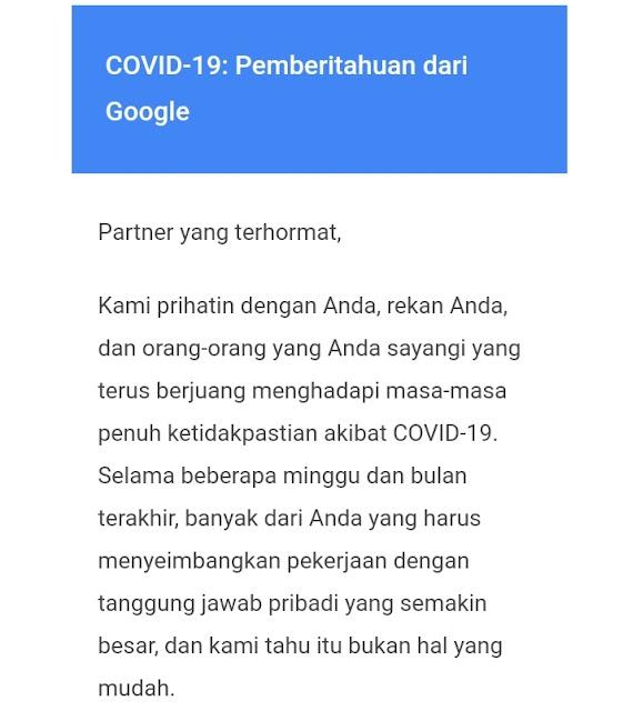 COVID-19: Pemberitahuan dari Google