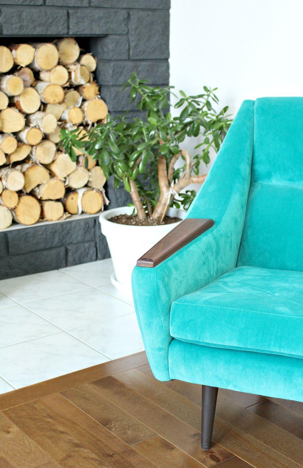 Teal Velvet MCM Chair