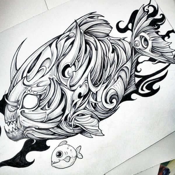10-Piranha-Animal-Drawings-Syahid Zain-www-designstack-co