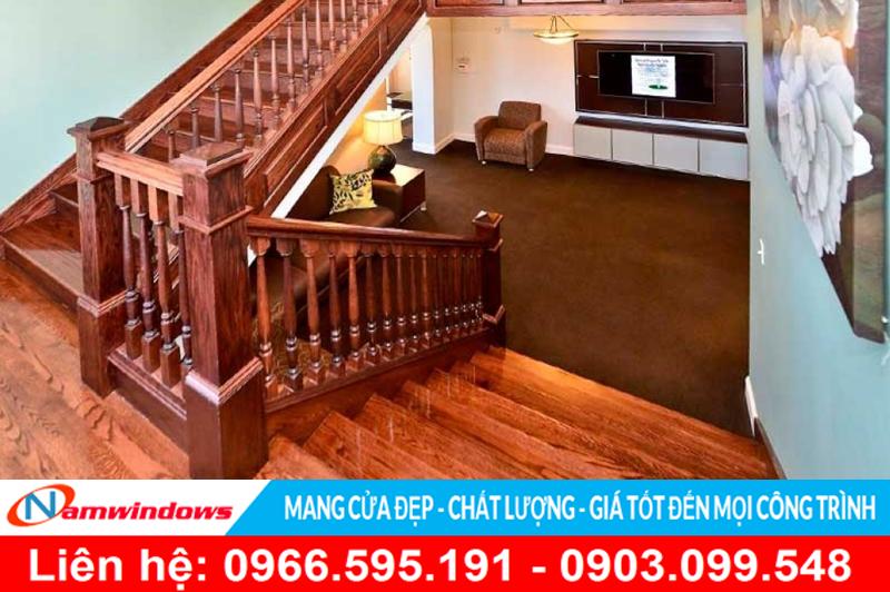 Mẫu cầu thang gỗ đẹp cho loại cầu thang có kích thước lớn