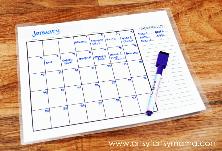 Free Printable Monthly Menu Planner artsy-fartsy mama