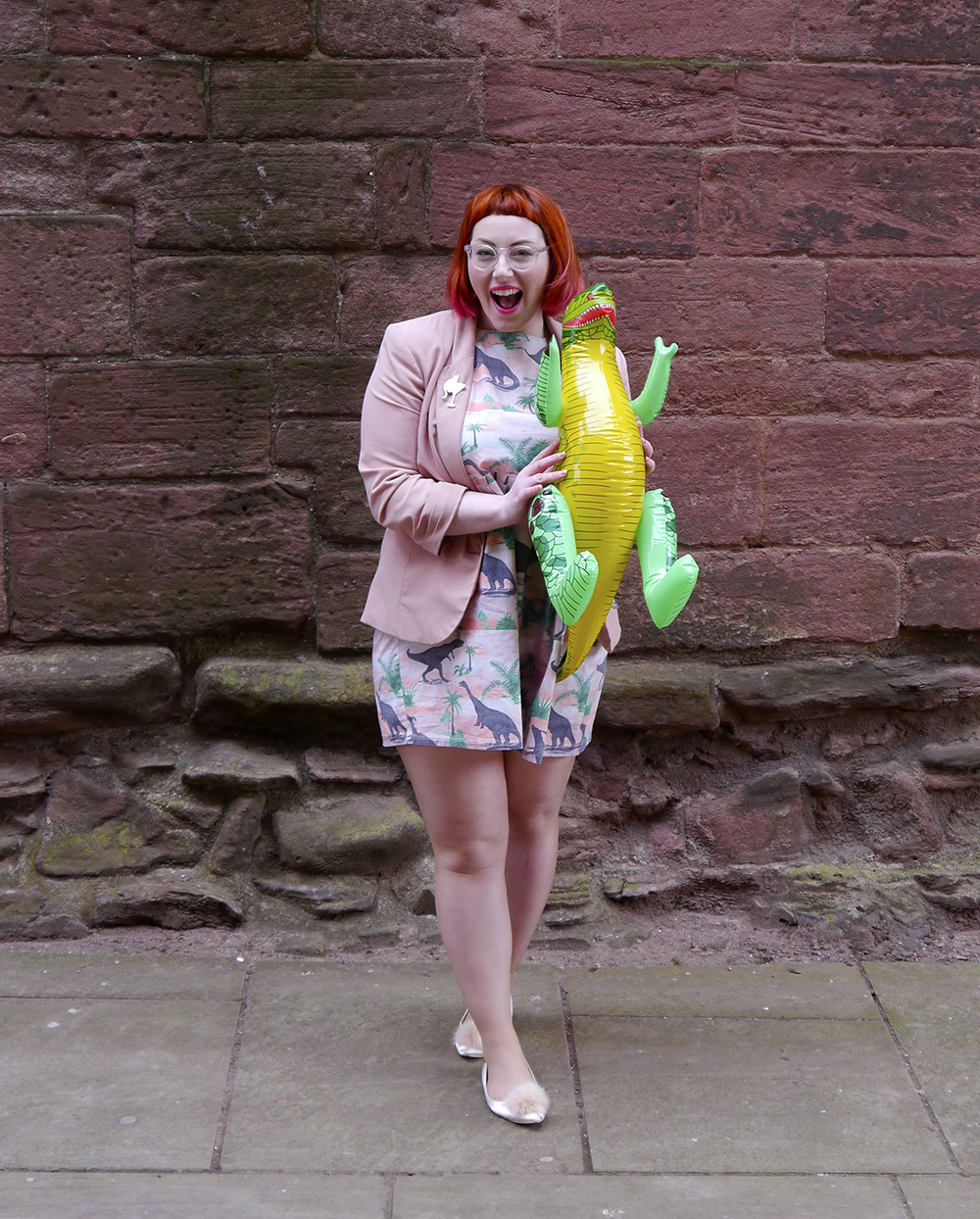 Styled by Helen, Scottish Blogger, red hair, red bob, Fashion Blogger, Dinosaur dress, dinosaur party, dinosaur style, pink outfit, Vintage Style Me, Vintage Style Me dinosaur dress, pink blazer, ASOS pink pom pom shoes, Karen Mabon x Lucky Dip CLub, Cat and cocktail brooch, Iolla glasses, subtle dip dye hair, pink and red hair, #seewithiolla