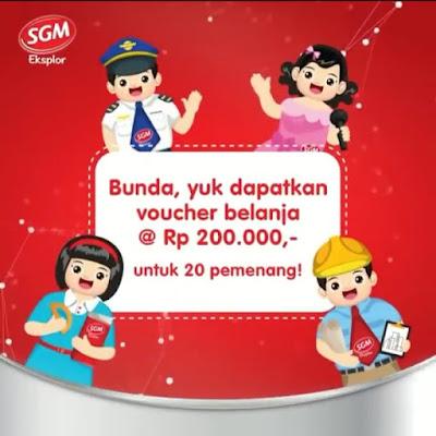 Ada Hadiah Voucher Belanja Dari SGM Eksplor  @Rp. 200.000,- Untuk 20 Bunda Beruntung Yuk Simak Caranya...